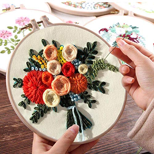 Nuberlic Embroidery Kit Cross Stitch Kit for Beginners Adults Kids Stamped Embroidery Starters Kit with Pattern Embroidery Hoops Cloth Floss Thread Needles
