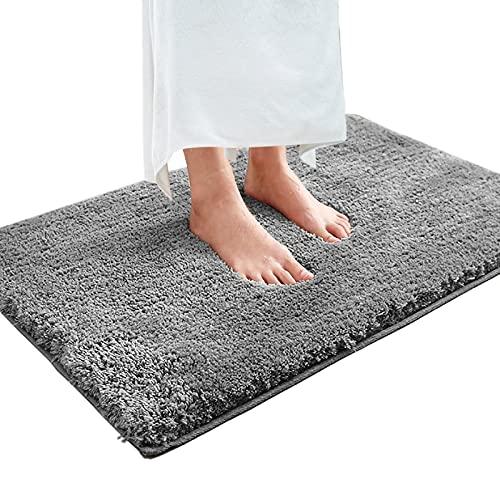 Magicfun Alfombra de baño, Alfombra Absorbente Antideslizante, Alfombra de baño de Microfibra esponjosa, alfombras de Ducha de Chenilla Suave Absorbente de Agua, Lavable a máquina (50x80x3cm, Gris)