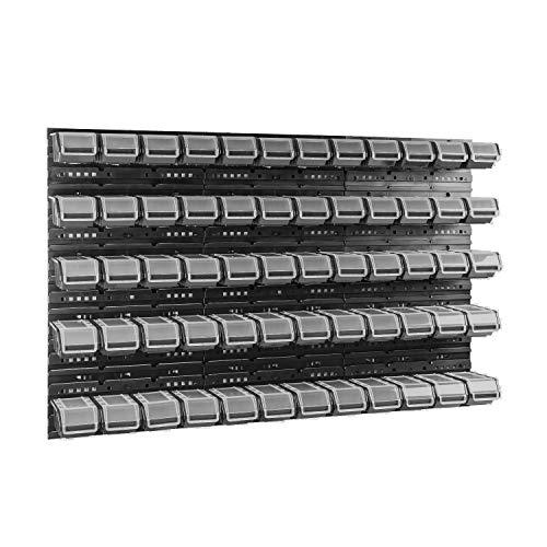 60 stck. Box mit Deckel + Wandregal 120 x 80 cm, Stapelboxen Schüttenregal Sichtlagerkästen Lagersystem (SCHWARZ)