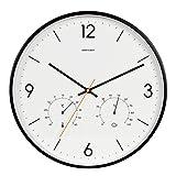 Reloj de pared decorativo Sencillo y moderno salón Dormitorio Entrada Reloj de cuarzo, Moda Negro Silencioso Barrido Segundo reloj de pared, Puntero de metal con temperatura y reloj de humedad Reloj d