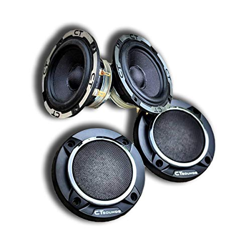 CT Sounds 3.5 Inch 3-Way Car Audio Midrange Speakers – Meso Speakers with Grills, Resonant frequency of 65 Hz, 30W (RMS)   60W (MAX) Power Per Speaker, Sold in Pairs