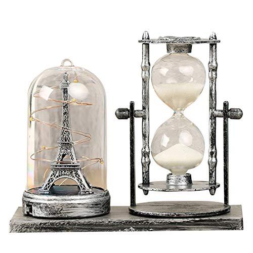 JUSTDOLIFE Torre e temporizador ampulheta intermitente com areia, feitos de ferro, para decoração de mesa