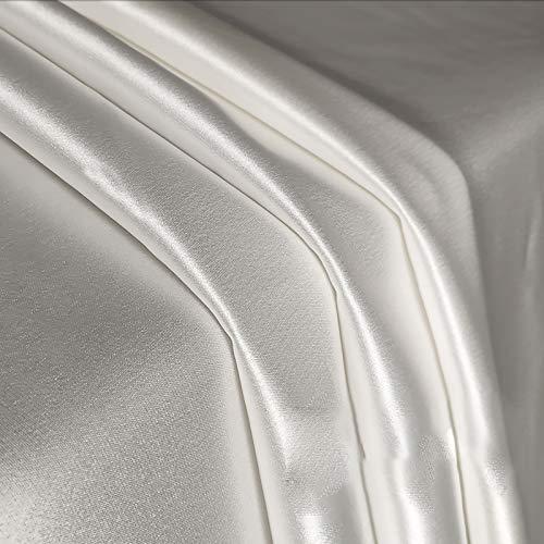 MUYUNXI Tela De Raso Forro De Tela para Vestidos De Novias Fundas Artesanías Vestidos Blusas Ropa Interior 148 Cm De Ancho Vendido por 2 Metro(Color:Blanco)