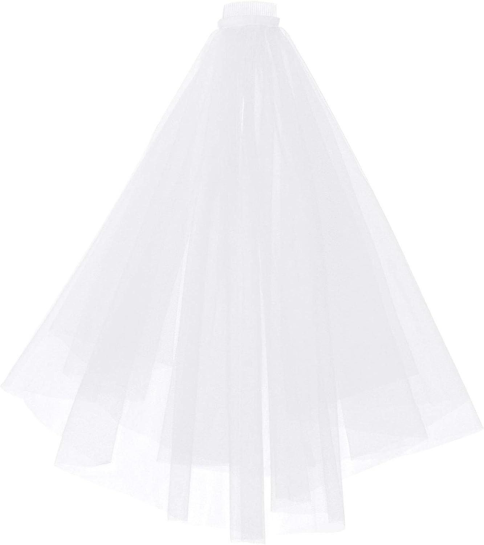 iiniim White 2 Tiers Bride Wedding Veil with Comb Bride Hair Accessoies Bridal Tulle