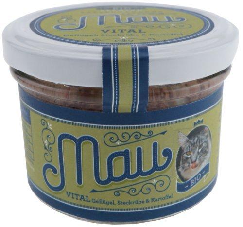 Mau Bio Katzenfutter Vital Geflügel 4X 200g (insg. 800g) mit Steckrüben u. Kartoffeln im wiederverschließbarem Glas