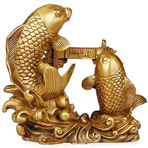 Feng Shui La carpa doble saltando sobre la estatua la puerta del dragón Estatua pez Arowana chino Oro que atrae la riqueza y la buena suerte Decoración latón para el hogar Regalo 0807 (Tamaño: Grande)