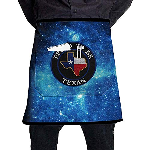 AllenPrint Delantal para Hornear,Orgulloso De Ser Texano Delantal De Cintura De Medio Cuerpo Delantales De Chef Caseros Coloridos Y Elegantes para Cocinar Hornear Jardinería 45x54cm