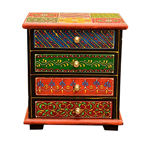Orientalische Mini-Kommode handbemaltes Holz-Kästchen Nilay bunt mit 4 Schubladen 17x12x19 cm (B/T/H) Die Originelle Geschenk-Idee für die Dame Freundin Muttertag | MA24-06