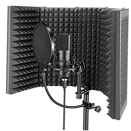 Scudo Di Isolamento, Schermatore Microfono Professionale, Pannello Isolatore a Microfono Regolabile Pieghevole Per Qualsiasi Microfono Condensatore Attrezzature Di Registrazione Studio 58x28cm