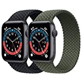 2 Pack Braided Solo Loop Sport Bands Compatible for Apple Watch Band 38mm 40mm 42mm 44mm Soft Stretchy Wristband Women Men Elastic Strap Compatible for iWatch Series 6/SE/5/4/3/2/1, 42mm/44mm Large