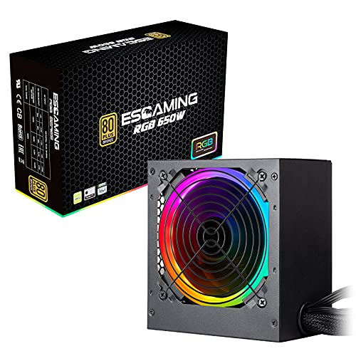 ESGAMING PC Power Supply 650W, 80 Plus Bronze Certified PSU with ARGB Light Mode, ATX Computer Gaming Power Supply, 120mm Silent RGB Fan,10 Year Warranty