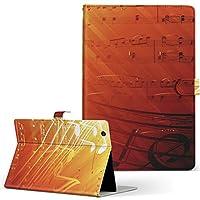 タブレット 手帳型 タブレットケース タブレットカバー カバー レザー ケース 手帳タイプ フリップ ダイアリー 二つ折り 革 音符 おんぷ オレンジ 008939 Fire HDX Amazon アマゾン Kindle Fire キンドルファイア FireHDX firehdx-008939-tb