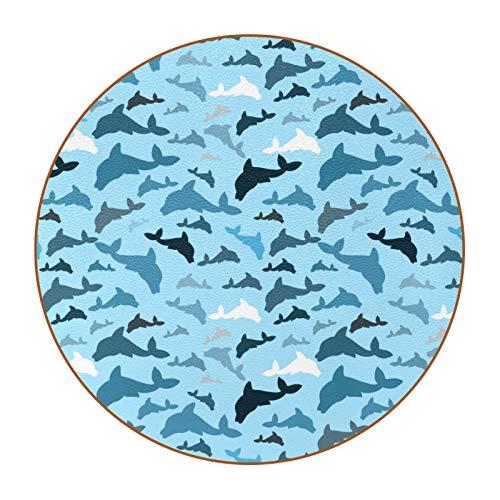 Bennigiry Juego de 6 posavasos de piel con diseño de delfines marinos, color blanco y azul marino