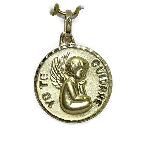Never Say Never Medalla Ángel de la Guarda Yo te cuidaré de 15mm Oro Ley 375mm