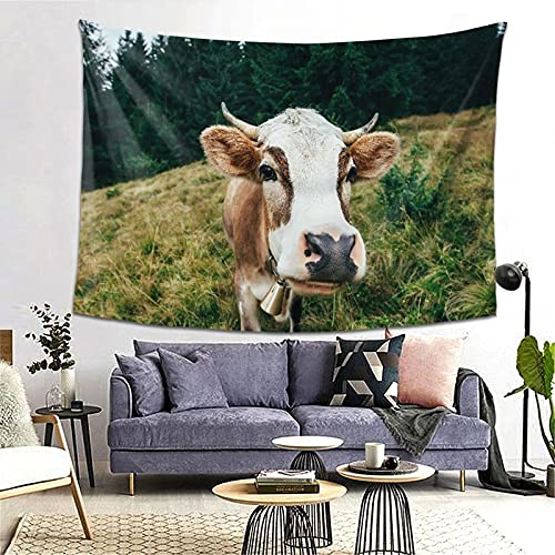 Tapiz Tapestry Wall Hanging Bedding Tapestry,Funny Cow On A Meadow In Forest Animal Background,Beach Throw Tapestry Table Cover Curtain Home Decoration Wall Art Bedroom Dorm Decor