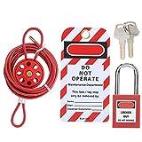 Juego de candados con cable, juego de candados de seguridad, cada candado tiene 2 llaves para la estación de bloqueo y etiquetado, juego de candados, rojo