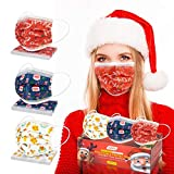 Disposable Face Masks, Christmas Face Mask for Adults with Breathable 3 Layer Protection Christmas Masks with Adjustable Ear Loops & Nose Wire Christmas Pattern for Women Men (30 Pcs)