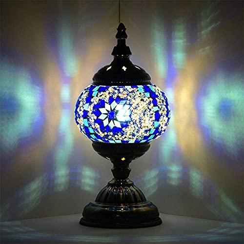Estilo Tiffany vendimia clásica lámpara de mesa de Turquía Mosaico del vitral Mesilla de noche lámpara de escritorio Al lado de Base de la lámpara de bronce antigua,Mesa Lámpara marroquí Linterna-azul