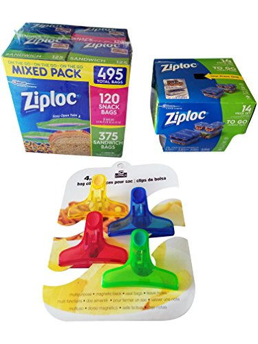 Ziploc and Cook's Corner Variety Pack Bundle | Ziploc Bags and Containers Combo with Cook's Corner Magnetic Bag Clips
