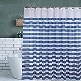 Tenda da doccia impermeabile e antimuffa, tenda da doccia in PEVA blu + bianco, a strisce, 300 x 200 cm, con 12 ganci