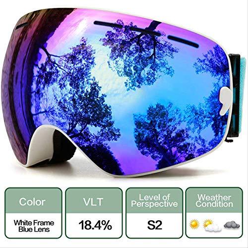 XYQY Brille Schneesport Snowboardbrillen mit Anti-Fog UV-Schutz für Männer Frauen Jugend Snowmobile Skifahren Skating MaskeC6 Whith Blue