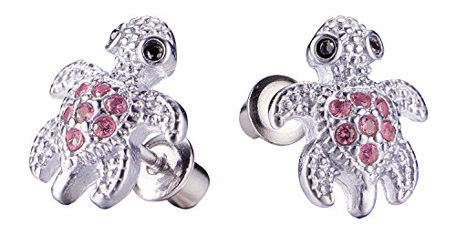 Surgical Steel Hypoallergenic Stud Earrings, Turtle Earrings for Girls with Secure Safety Screwback