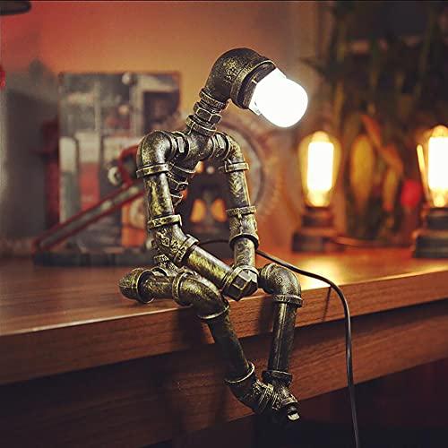 73FACAI Lámpara de Decoración Vintage de Loft Industrial Tubo de Hierro Creativo Lámpara de Mesa de Edison Led Lámpara de Mesa con Robot,C
