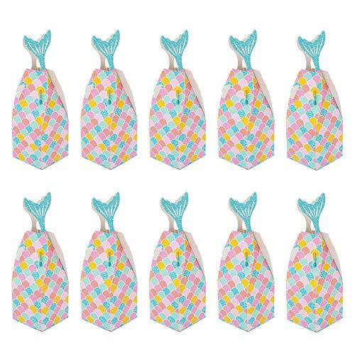 YUIP Meerjungfrau Geschenkboxen, 30 Stück Candy Papiertüten Dekorative Süßigkeiten Papierbox, für Hochzeit Kindergarten Geburtstag Party Babyparty Brautdusche