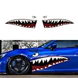 iJDMTOY Complete Set 60-Inch Full Size Shark Mouth w/Eye Die-Cut Vinyl Decals Compatible With Car Truck SUV (Left & Right)