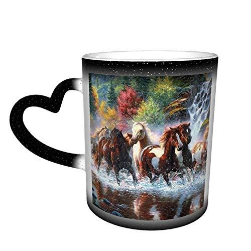 Taza de café mágica cambiante, diseño de caballos indios nativos americanos, personalizable, de cerámica, sensible al calor, taza de café con leche, regalo de cumpleaños