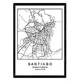 Nacnic Lámina Mapa de la Ciudad Santiago Estilo nordico en Blanco y Negro. Poster tamaño A3 Sin Marco Impreso Papel 250 gr. Cuadros, láminas y Posters para Salon y Dormitorio