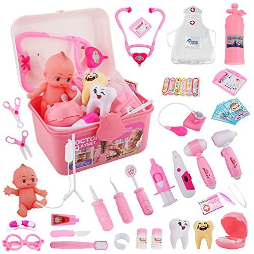 45 Piezas Doctora Juguete para Niños, Maletin Doctora Juguete, Juguetes Kit Medicos Dentista Juego de rol, Regalos para 3+ Años Niñas, rosa juguetes educativos