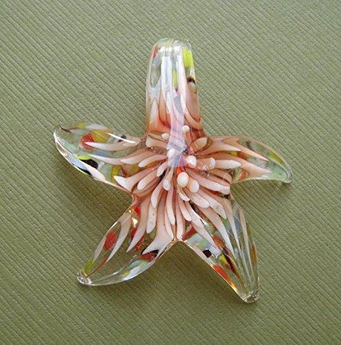BeadsTreasure Starfish Red Lampwork Blown Glass Murano Pendant.