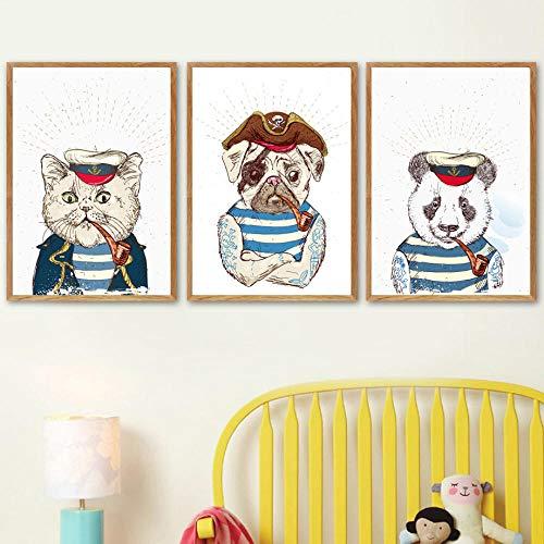 JRLDMD Perro Pirata capitán Gato Panda Marinero Cartel nórdico e Impresiones Arte de Pared Lienzo Pintura Cuadros de Pared para niños decoración de Dormitorio de niño 40x60cmx3 sin Marco