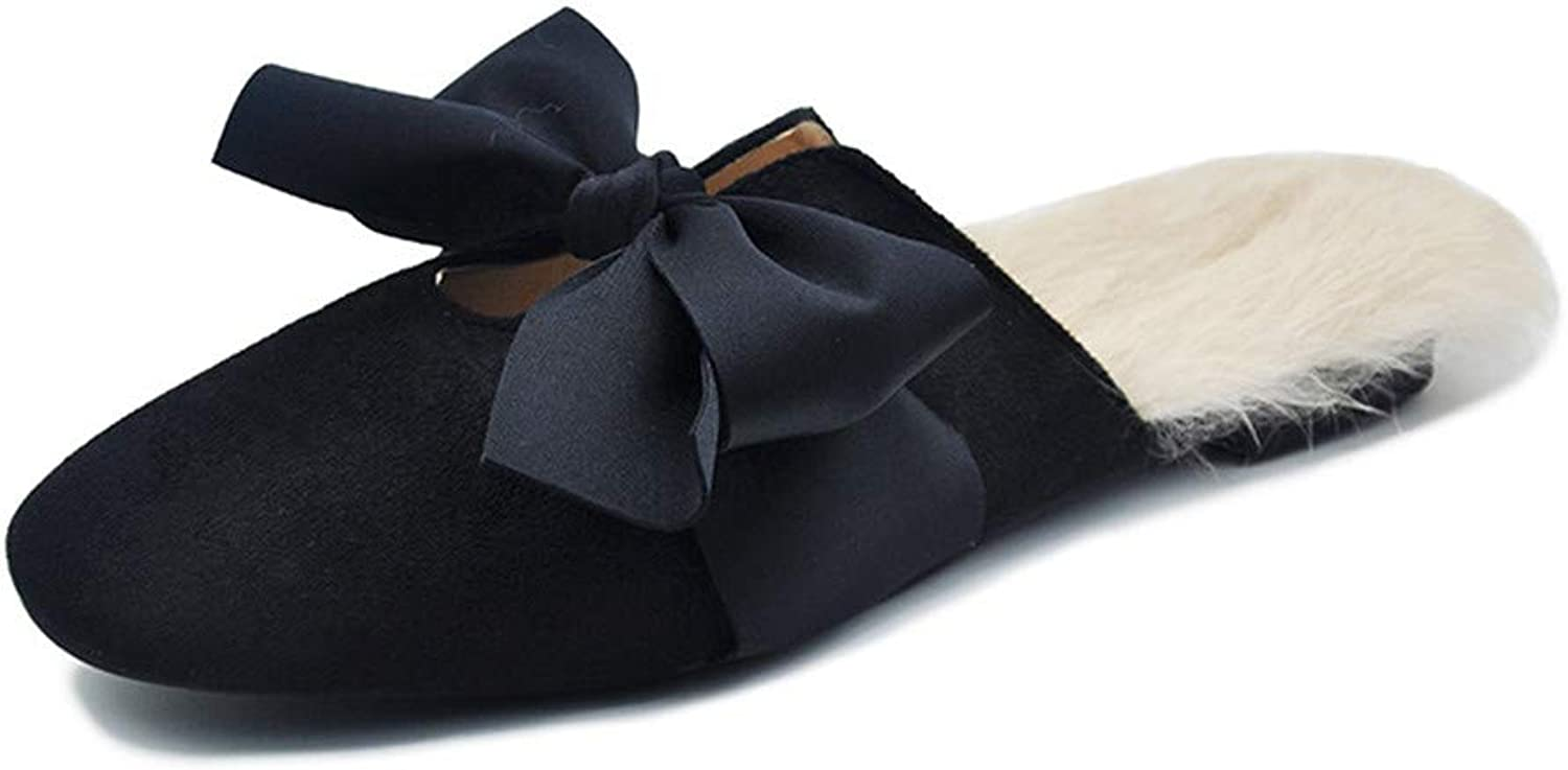 Women's House Slippers Comfort Memory Foam Fuzzy Winter Home shoes Slip On Indoor Outdoor (color   Black, Size   5.5US)