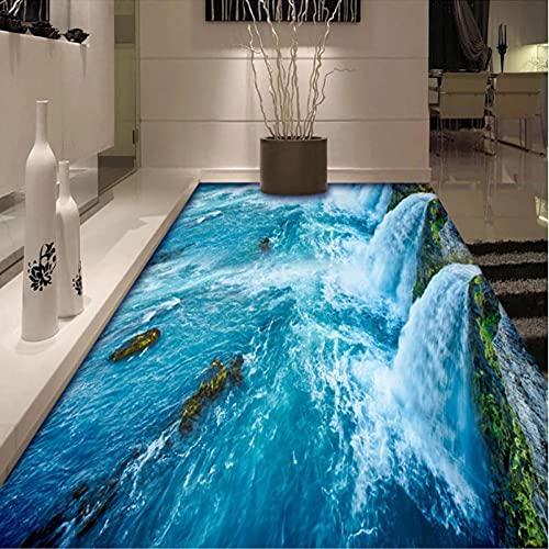 Papel pintado de suelo 3D con foto personalizada, cascada, agua corriente, moderno, sala de estar, baño, suelo, Mural, PVC, autoadhesivo, decoración del hogar-300x210cm