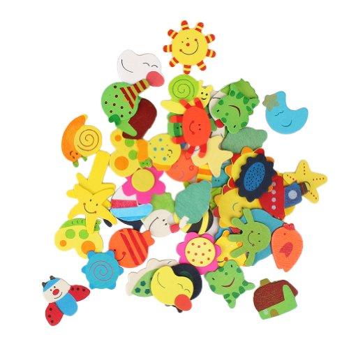 WLM, calamite colorate per frigorifero, in legno, tema cartoon, ideali per bambini, confezione da 48 pezzi