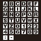 Plantillas de letras,26 letras+10 números+2 puntuación,plantilla de plástico del alfabeto para manualidades diario álbumes de fotos álbumes de recortes agendas proyectos de arte blanco 10 * 10cm