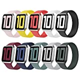 Huishang 10 Pack Compatible with Apple Watch Bands 38mm 42mm 40mm 44mm, Stretch Solo Loop Strap Soft Silicone Sport Replacement Wristband for iWatch Series 6/5/4/3/2/1, SE
