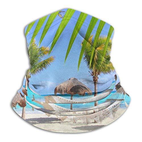 Hdadwy Microfiber Cover/Neck Warmer Gaiter,Beach Hammocks And Palm Trees Head Wrap,Face Cover