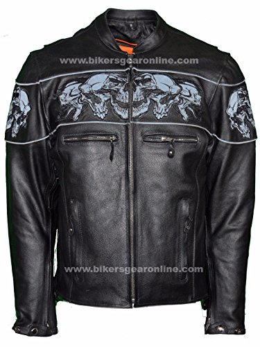 Dealer Leather MEN'S RIDING REFLECTIVE SKULLS CROSSOVER LEATHER JACKET VENTED THICK LEATHER NEW (2XL Regular)