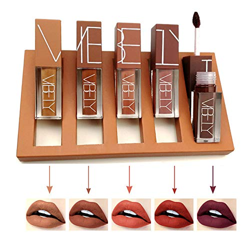 5Pcs/Set Matte Liquid Lipstick, 5 Colors Lip Gloss Kit, Waterproof Long Lasting Stay All Day, Durable Non-Stick Cup