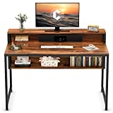 Cubiker Computer Home Office Desk, 47' Small Desk Table with Storage Shelf and Bookshelf, Study Writing Table Modern Simple Style Space Saving Design, Dark Rustic