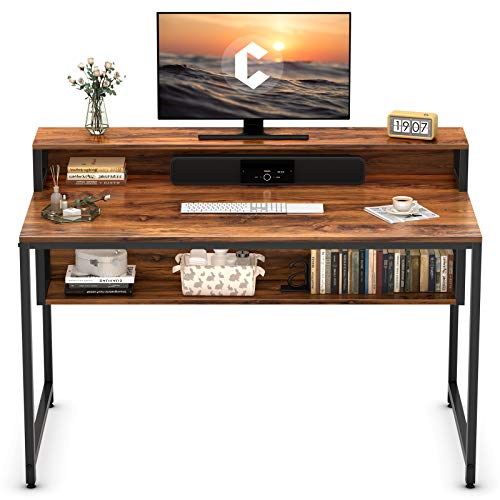 """Cubiker Computer Home Office Desk, 47"""" Small Desk Table with Storage Shelf and Bookshelf, Study Writing Table Modern Simple Style Space Saving Design, Dark Rustic"""