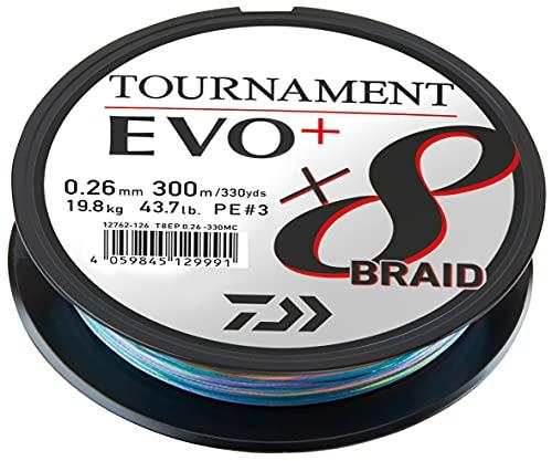 Daiwa Tournament x8 Braid EVO+ 0.26mm, 19.8kg/43.7Lbs, 300m, Mehrfarbig, Geflochtene Angelschnur, 12762-126