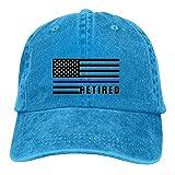 saletopk USA-Flagge im Ruhestand dünne Blaue Linie Unisex gewaschener Twill-Baumwollbaseballmütze-Weinlese-justierbarer Hut