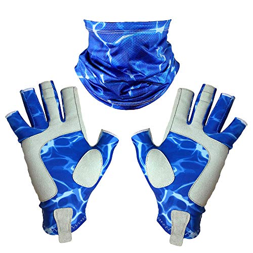Adept Tackle UPF50+ Fingerless Fishing Gloves for Men and Women, with Fishing Neck Gaiter, UV Protection Gloves, Fly Fishing Gloves, Sun Gloves for Kayaking, Hiking and Canoeing - Blue Water, X-Large