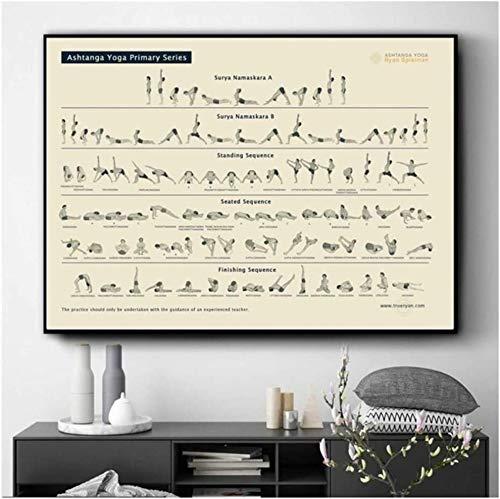 """Surfilter Print auf Leinwand Yoga Ashtanga Primary Series Poster und Drucke Wandkunst Bild Leinwandmalerei für Wohnzimmer Wohnkultur 27.5"""" x 39,4""""(70x100cm) No Frame 1"""