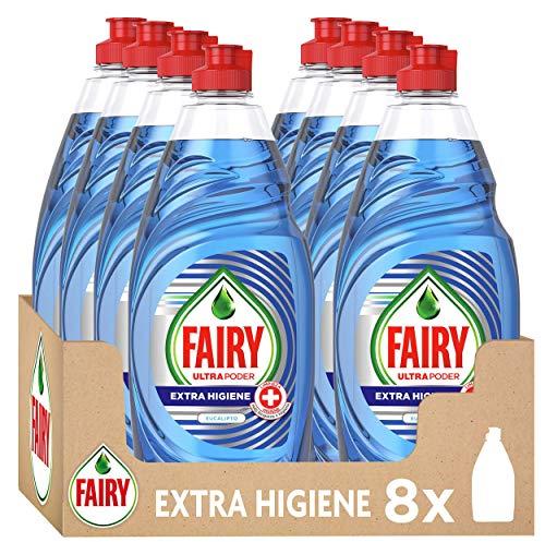 FAIRY Ultra Poder Extra Higiene Lavavajillas a Mano, 4L (X 500 Ml), Aroma a Eucalipto, Azul, 8 Unidades