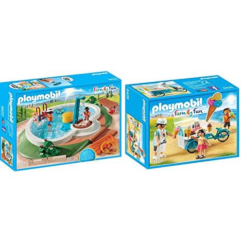 PLAYMOBIL Family Fun Piscina con Bomba de Agua para la Ducha, A Partir de 4 años (9422) + Carrito de Helados Juguete, Multicolor (Geobra Brandstätter 9426)